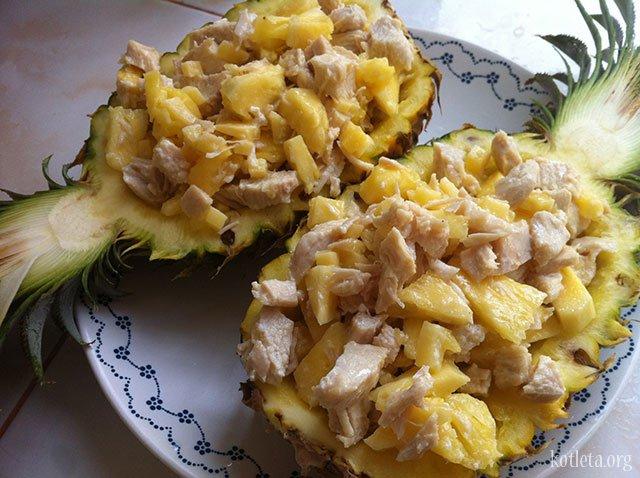 Салат из ананасов курицы и шампиньонов рецепт с
