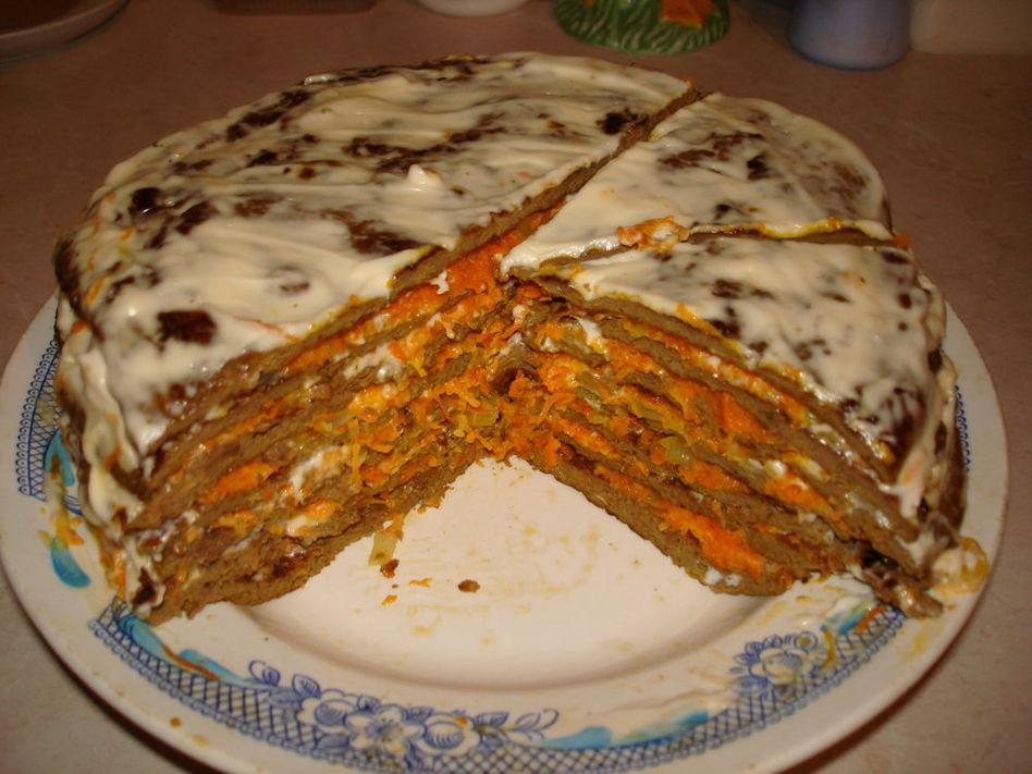 Печеночный торт из говяжьей печени рецепт пошагово с грибами