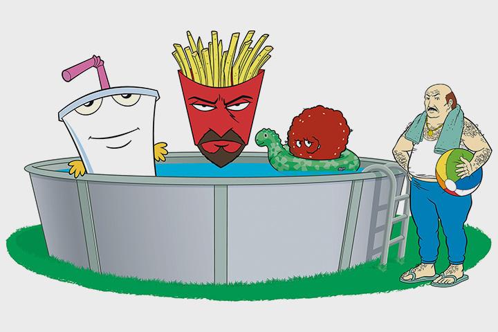 «Aqua Teen Hunger Force» (мультфильм о говорящих блюдах из фастфуд-ресторана: молочном коктейле, картофеле фри и мясной тефтеле) выходит на Adult Swim
