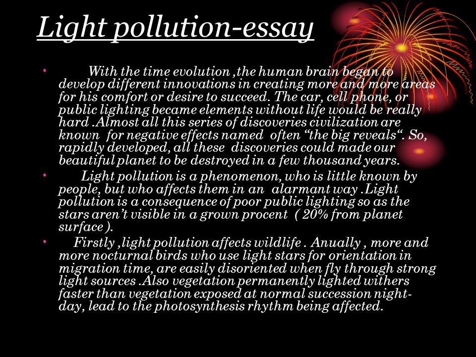 Write my essay about light pollution