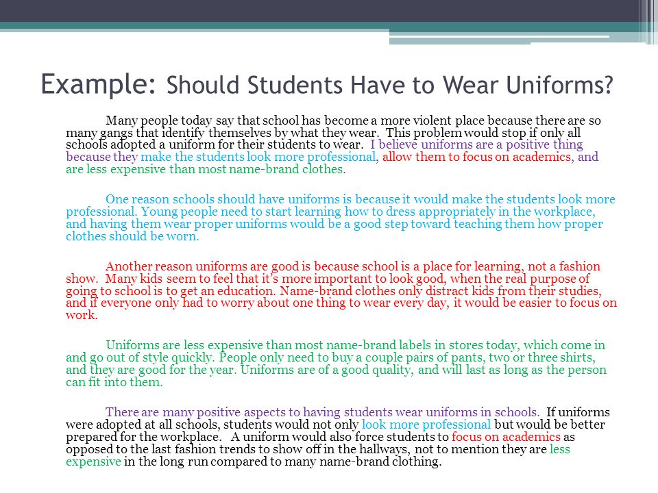 argumentative essay students should wear uniforms Voice your opinions on whether school uniforms should or should not be  enforced on students learn pros and cons others have shared.
