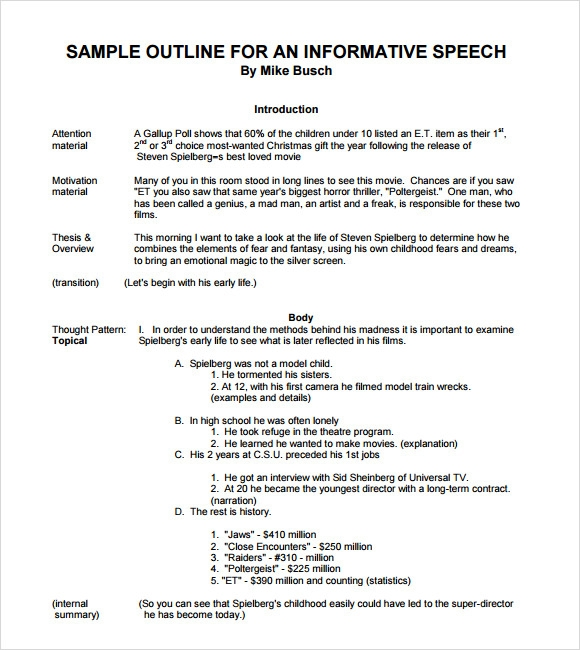 Write my informative speech on dreams outline