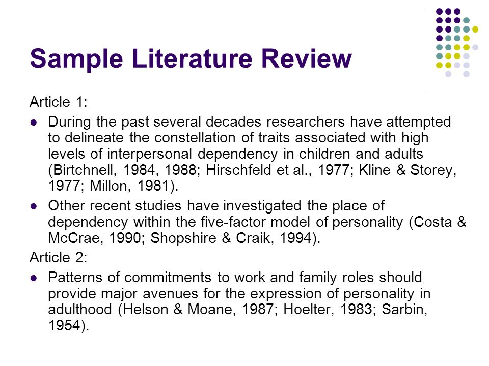 Guidelines for writing a literature review - duluthumnedu