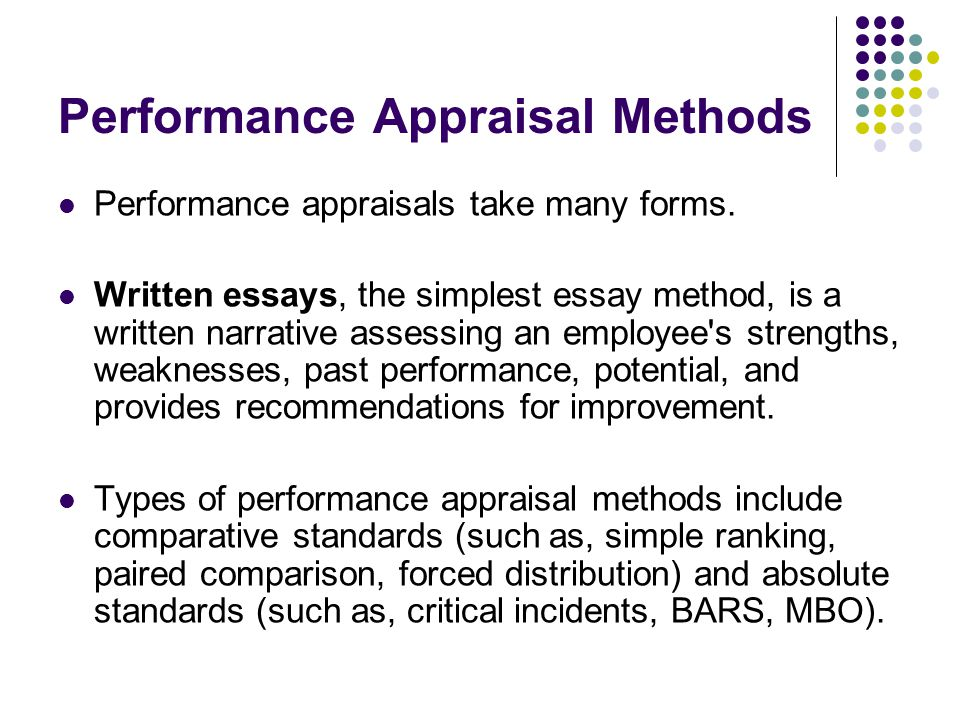 Write my performance appraisal essay