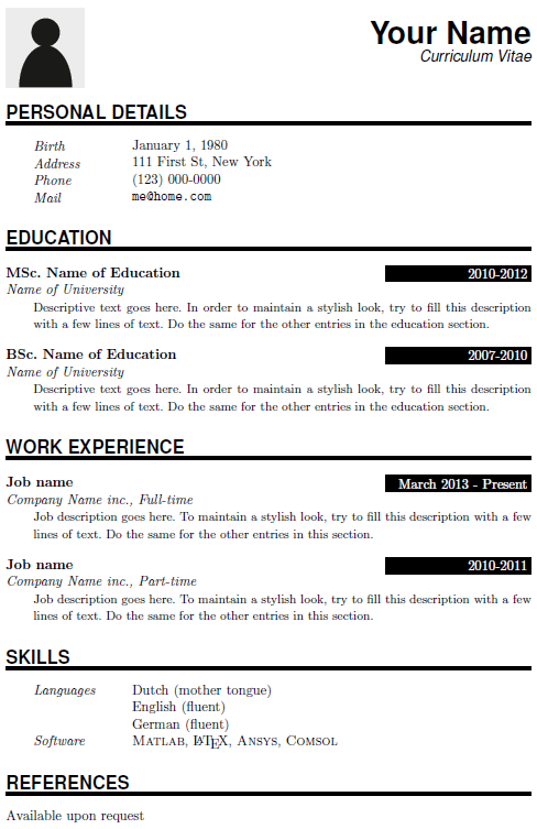 resume headers exolgbabogadosco - Resume Latex Template