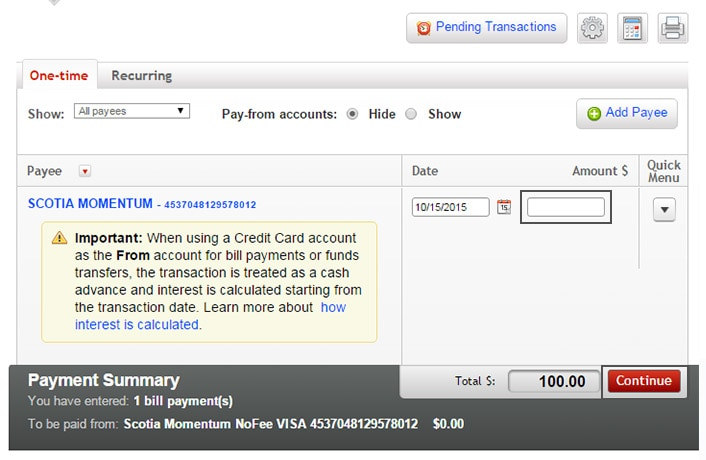 Scotiabank 401k online bill payment qld