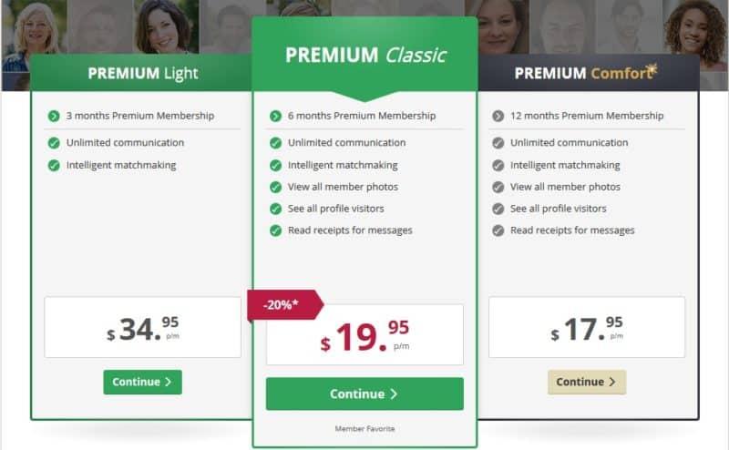 Online dating website prices