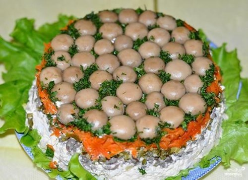 Рецепты салата с грибами и с фотографиями