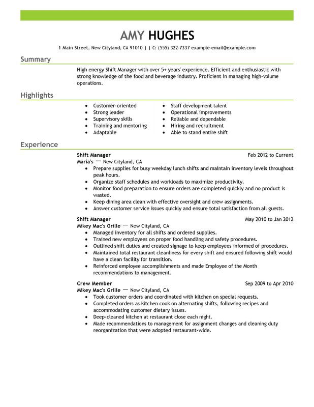 restaurant resume templates