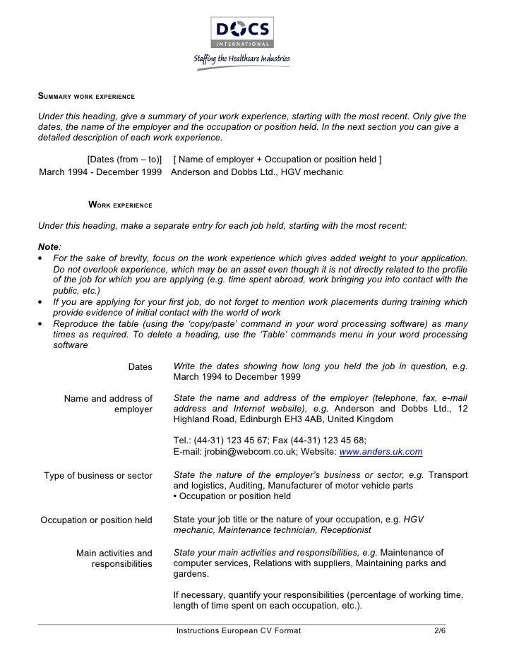 european resume template exolgbabogadosco - European Curriculum Vitae Example