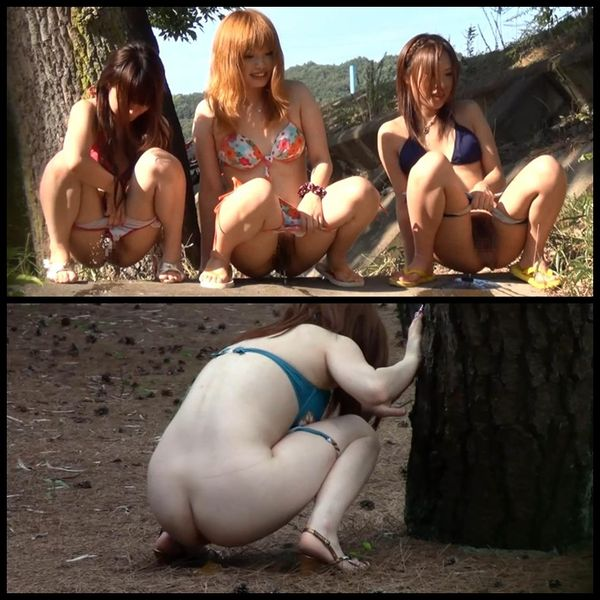 Outdoor young womens poop