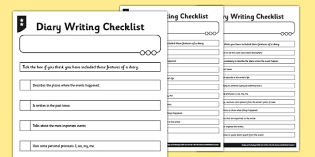 Diary writing checklist differentiated diary checklist write pronofoot35fo Image collections