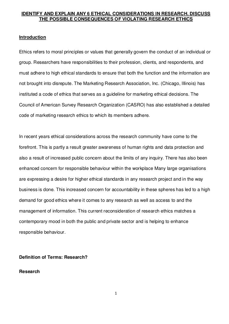ethical standards for human research discussion paper