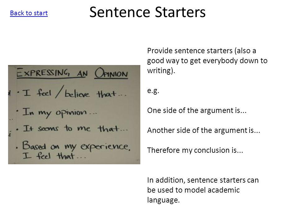 Write my good essay starter sentences