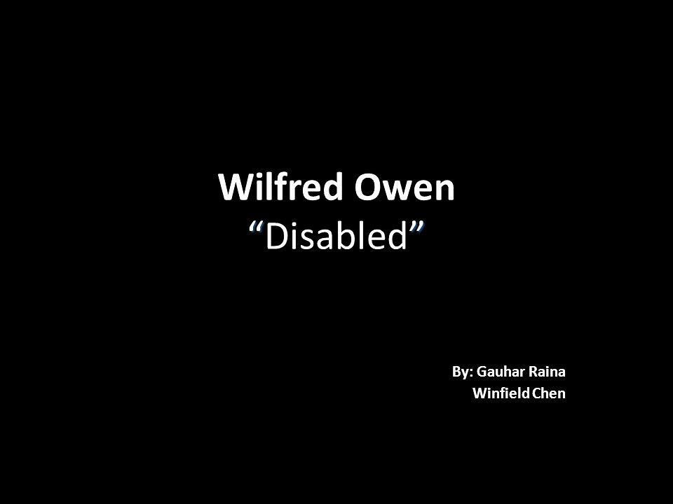 Disabled - Imagery, symbolism and themes Wilfred Owen