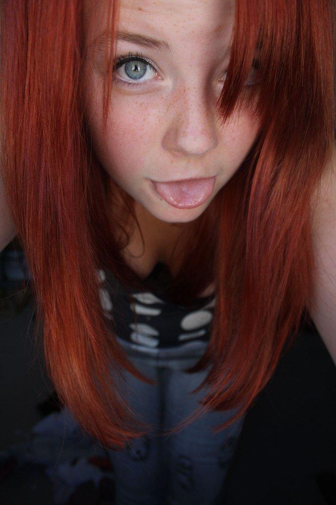 Hot redhead creampie eating