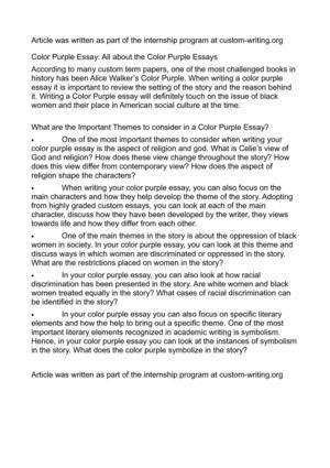 Write my the colour purple essay