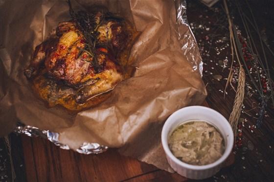 Ресторан Панаехали - фотография 9 - Цыпленок фермерский с икрой из баклажанов