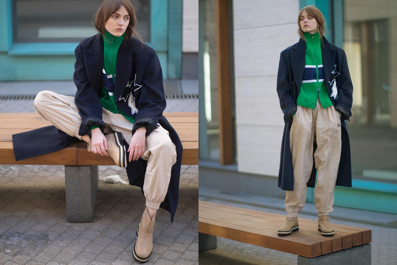 Пальто Kris Van Assche, 39800 р.,  олимпийка Jil Sander, 28050 р.,  винтажные брюки, 350 р.,  сапоги MM6, 47405 р.