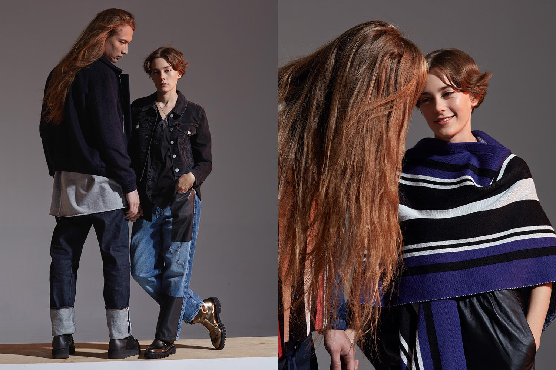 Слева: куртка H&M, 2499 р., свитшот Tigran Avetisyan 5000 р., джинсы Rag & Bone, 18 500 р., куртка Levi's, 8900 р., джинсы McQ, 21 400 р., майка Asos, 499 р. Справа: пончо Asos, 1986 р., брюки H&M, 3499 р.