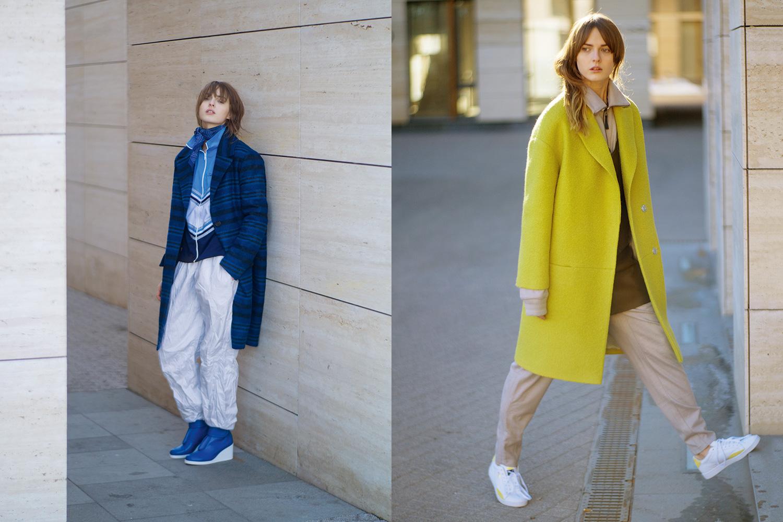 Слева: пальто Maje, 30050 р.,  винтажный спортивный костюм, 600 р., полусапоги MM6, 31950 р.,  бандана Monki, 499 р. Справа: пальто Luda Nikishina, 26200 р.,  толстовка, 14990 р.,  брюки, 9490 р., все — Adidas Originals,  кроссовки Puma, 5400 р.