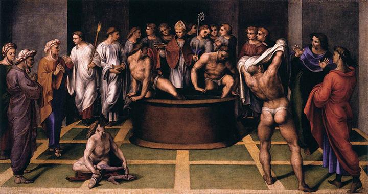 Святой Августин совершает таинство крещения над оглашаемыми, 1516