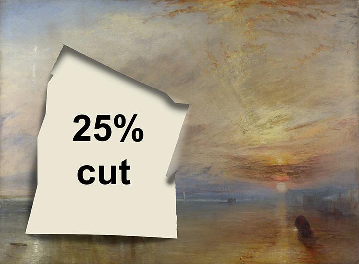 Британский агитплакат, протестующий против 25-процентного сокращения расходов на культуру