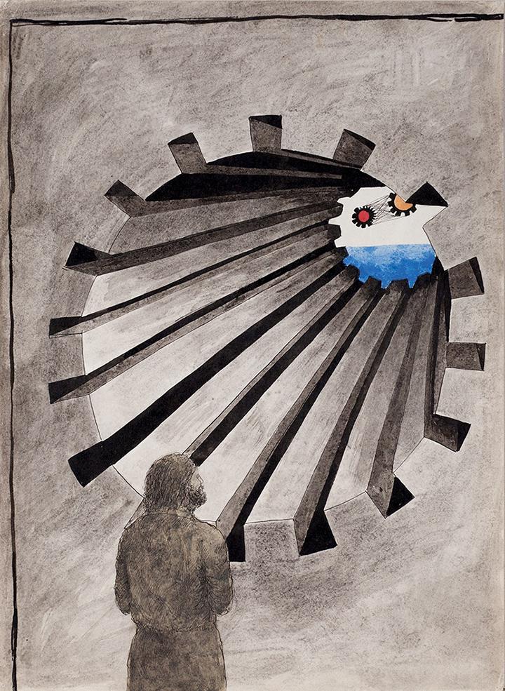 Дмитрий Пригов. Композиция из  серии «Скважины», 1974