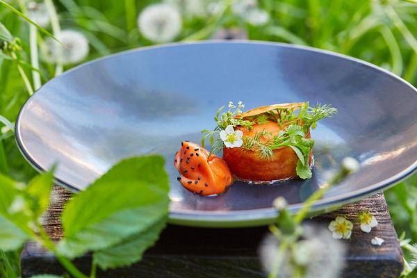 тартар из гребешка в хрустящем тесте с муссом из копченой моркови (750 р.)