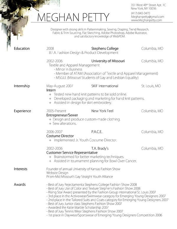 fashion resume example exolgbabogadosco - Fashion Designer Resume Sample