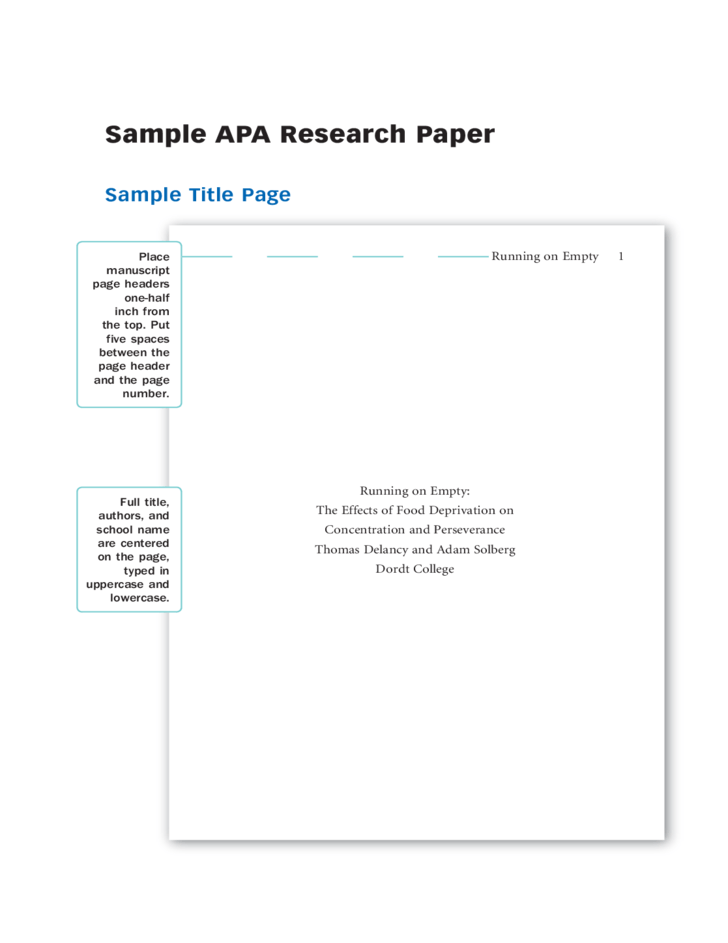 APA Term Paper Format - APA Style Term Paper Example