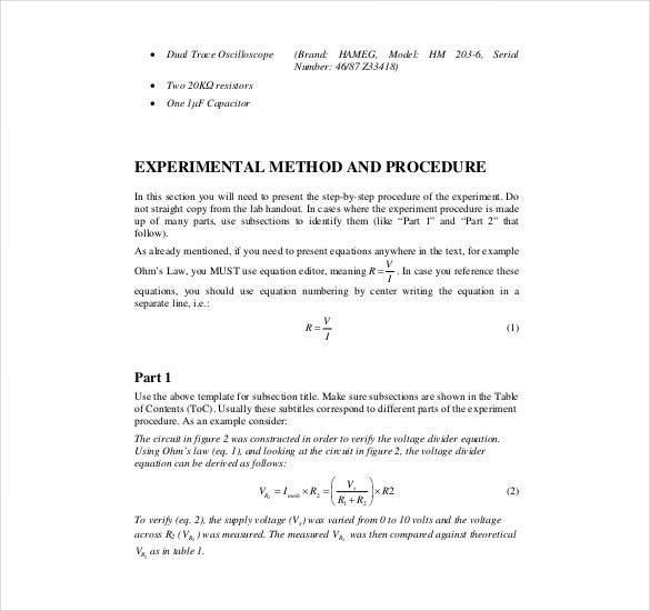 Engineering lab report example