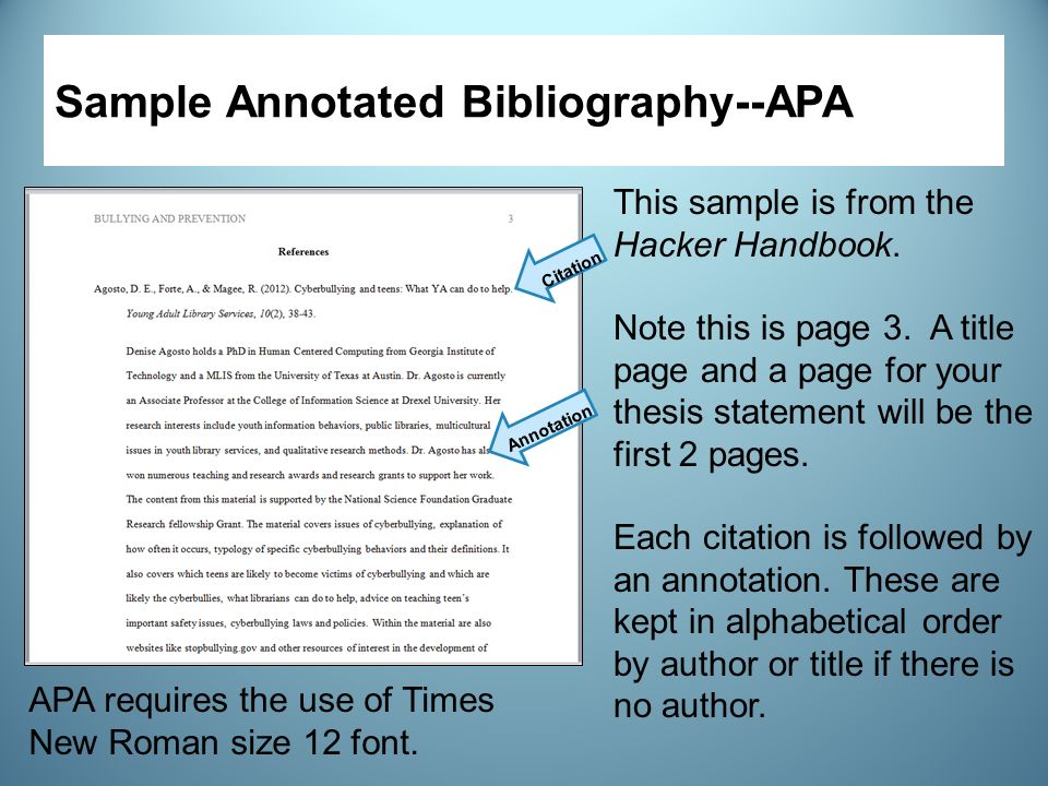 Write my apa sample annotated bibliography
