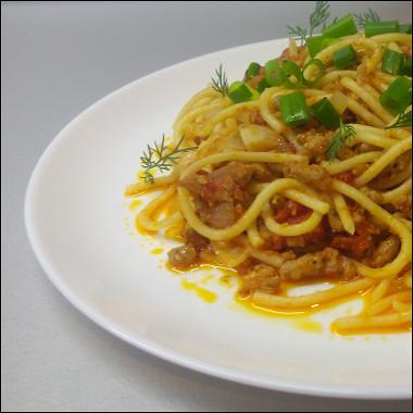 Рецепт Ленивые спагетти болоньезе