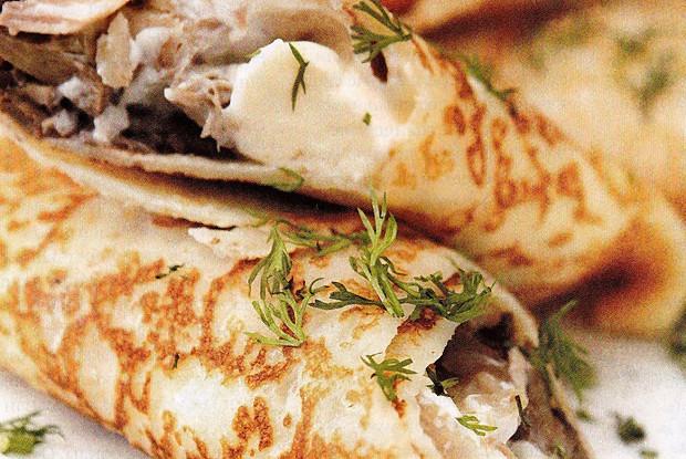 Блины с курицей - Пошаговый рецепт с фото