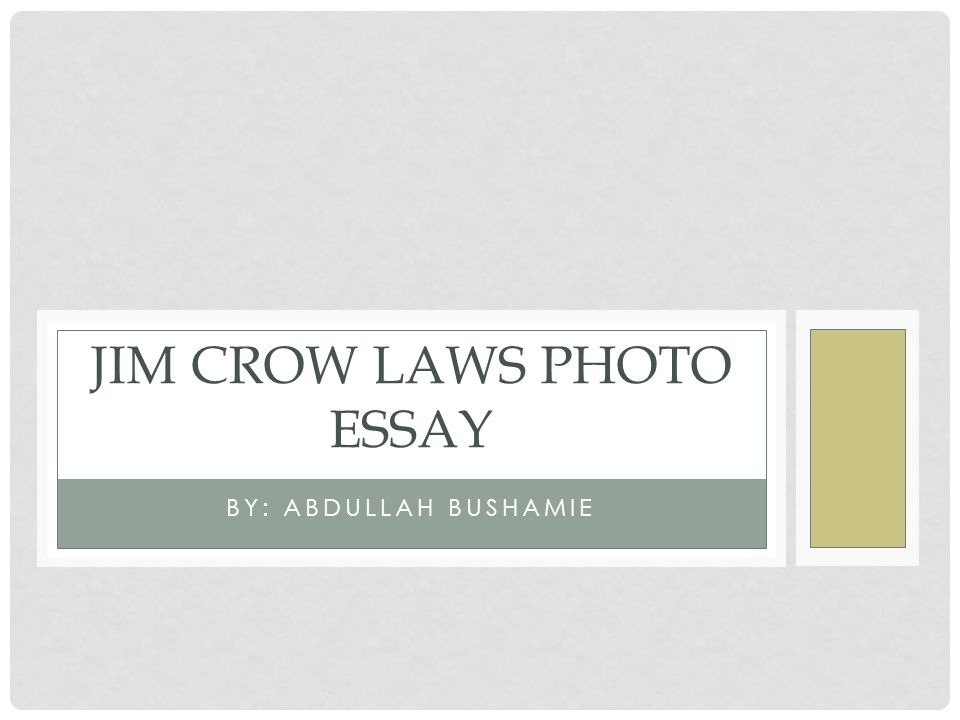 Jim Crow Laws - Sample Essays