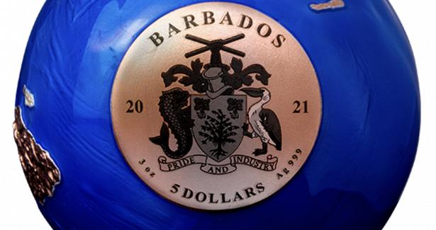 Круглая монета сизображением Земли на5долларах