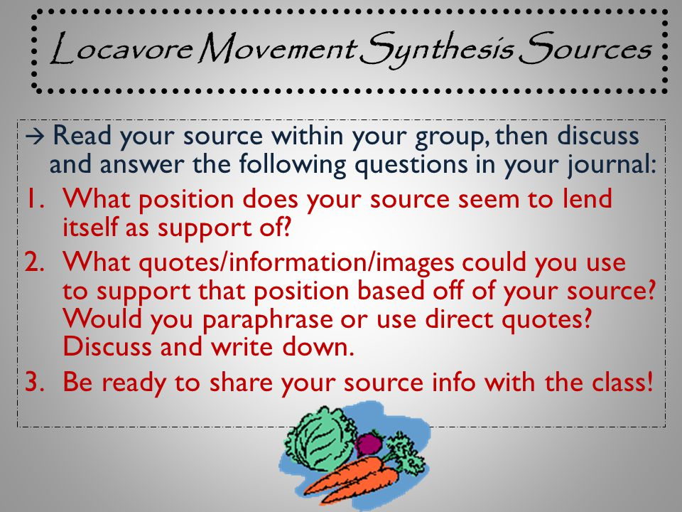locavore synthesis essay